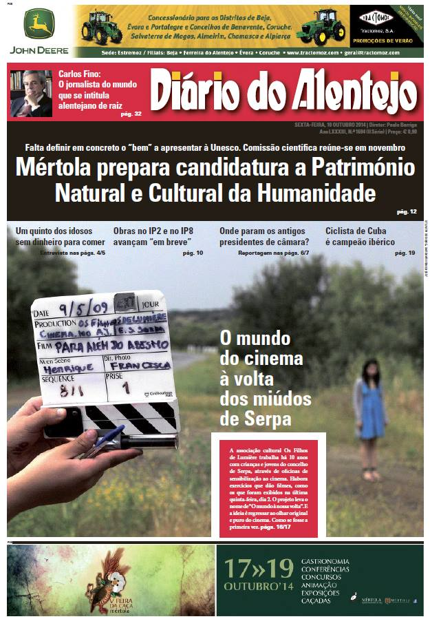 Capa Diário do Alentejo 10.10.2014